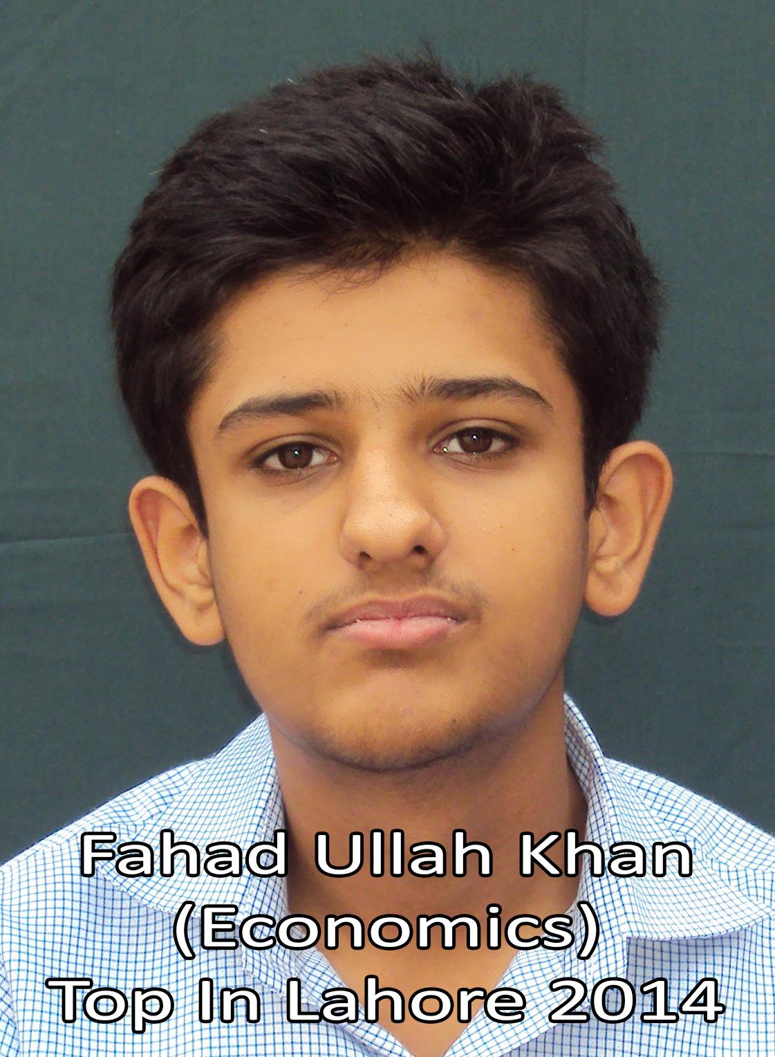 Fahad Ullah Khan Top in Lahore Economics 2014